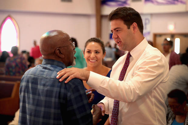 MANSFIELD, OH - AUGUST 05: Ohio Democratic congressional candidate Danny O'Connor greets worshipers during a campaign stop at Oasis Church on August 5, 2018 in Mansfield, Ohio. O'Connor is in a dead heat race against Republican challenger Troy Balderson for Ohio's 12th Congressional District. Yesterday President Donald Trump attended a rally to show support for Balderson.  (Photo by Scott Olson/Getty Images)